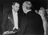 The King of Sweden giving the Nobel Prize to Glenn T. Seaborg.